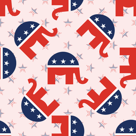 Modello senza cuciture di elefanti su sfondo di stelle nazionali. Carta da parati patriottica elezioni presidenziali USA. Illustrazione di vettore del modello di griglia.