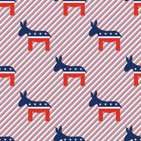 Donkeys seamless pattern on red and blue stripes background. USA presidential elections patriotic wallpaper. Repeated pattern vector illustration.