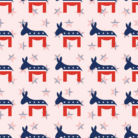 Donkeys seamless pattern on national stars background. USA presidential elections patriotic wallpaper. Continuos pattern vector illustration.