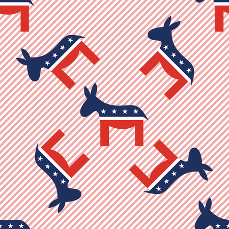Donkeys seamless pattern on red stripes background. USA presidential elections patriotic wallpaper. Scalable pattern vector illustration.