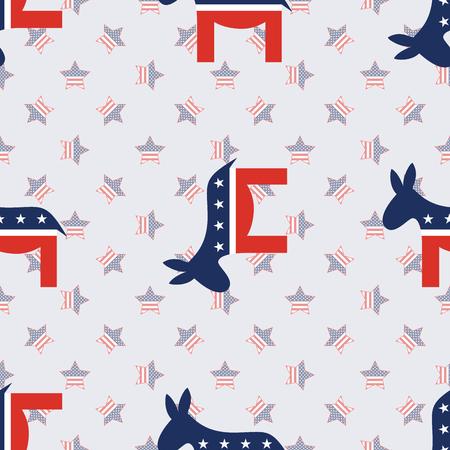 Donkeys seamless pattern on american stars background. USA presidential elections patriotic wallpaper. Wallpaper pattern vector illustration.