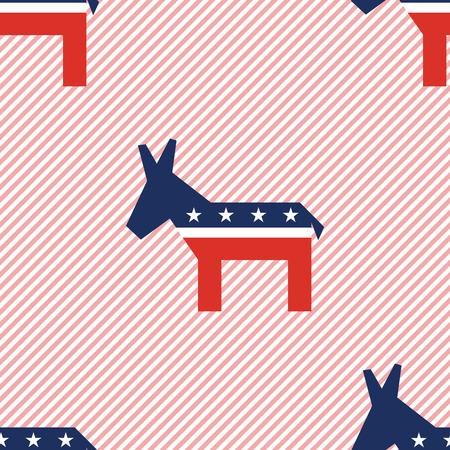 Broken donkeys seamless pattern on red stripes background. USA presidential elections patriotic wallpaper. Surface pattern vector illustration.