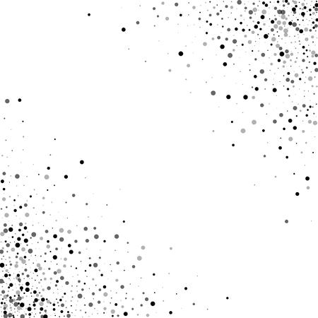 Dense black dots. Scatter cornered border with dense black dots on white background. Vector illustration. Illustration