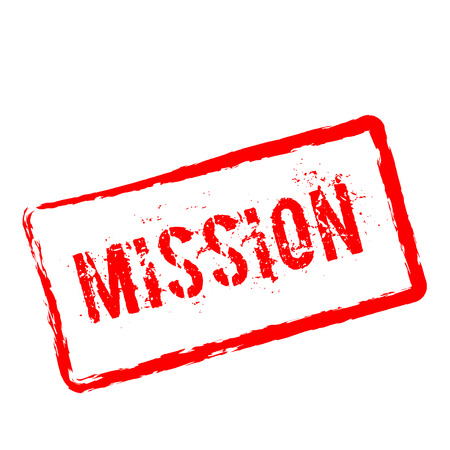 Mission red rubber stamp isolated on white background. Grunge rectangular seal with text, ink texture and splatter and blots, vector illustration. Illustration