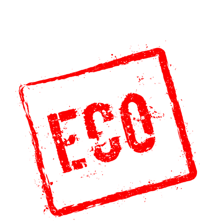 ECO red rubber stamp isolated on white background. Grunge rectangular seal with text, ink texture and splatter and blots, vector illustration.