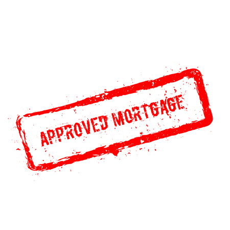 Approved mortgage red rubber stamp isolated on white background. Grunge rectangular seal with text, ink texture and splatter and blots, vector illustration.