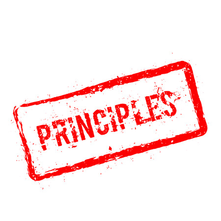 Principles red rubber stamp isolated on white background. Grunge rectangular seal with text, ink texture and splatter and blots, vector illustration.