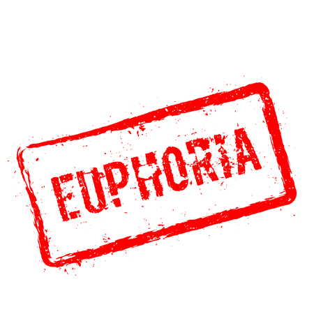 Sello de goma de EUPHORIA rojo aislado sobre fondo blanco. Sello rectangular de grunge con texto, textura de tinta y salpicaduras y borrones, ilustración vectorial.