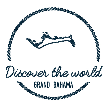 Grand Bahama Map Outline. Vintage Discover the World Rubber Stamp with Island Map. Hipster Style Nautical Insignia, with Round Rope Border. Travel Vector Illustration.