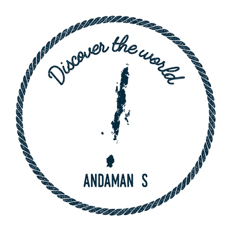 Andaman Islands map in vintage discover the world insignia. Hipster style nautical postage stamp, with round rope border. Vector illustration.