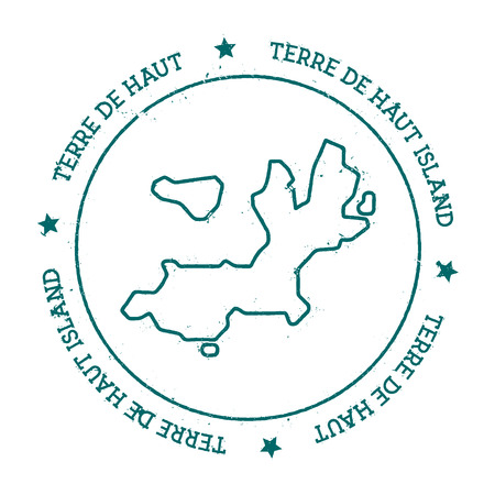 Terre-de-Haut Island vector map. Distressed travel stamp with text wrapped around a circle and stars. Island sticker vector illustration.
