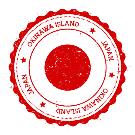 Okinawa Island flag badge. Vintage travel stamp with circular text, stars and island flag inside it. Vector illustration.