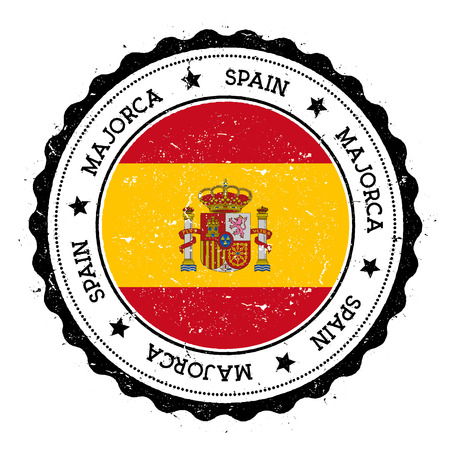 Majorca flag badge. Vintage travel stamp with circular text, stars and island flag inside it. Vector illustration.