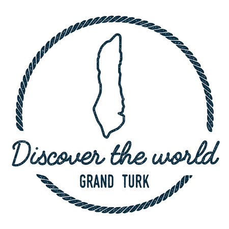 Grand Turk Island Map Outline. Vintage Discover the World Rubber Stamp with Island Map. Hipster Style Nautical Insignia, with Round Rope Border. Travel Vector Illustration.