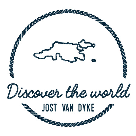 Jost Van Dyke Map Outline. Vintage Discover the World Rubber Stamp with Island Map. Hipster Style Nautical Insignia, with Round Rope Border. Travel Vector Illustration. Illustration