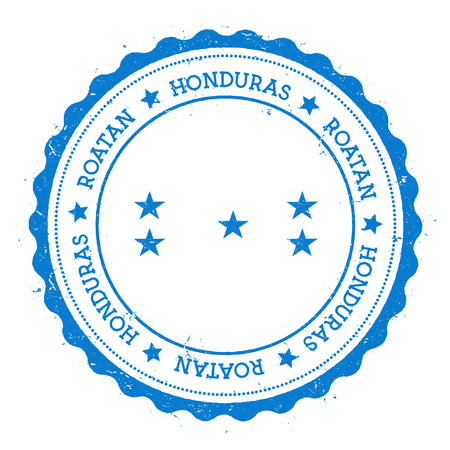 Roatan flag badge. Vintage travel stamp with circular text, stars and island flag inside it. Vector illustration.