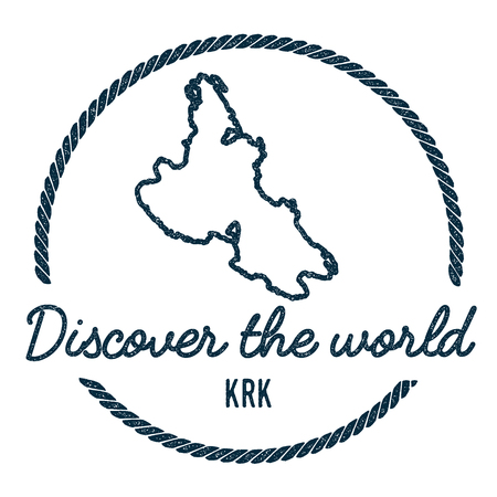 Krk Map Outline. Vintage Discover the World Rubber Stamp with Island Map. Hipster Style Nautical Insignia, with Round Rope Border. Travel Vector Illustration. Ilustrace