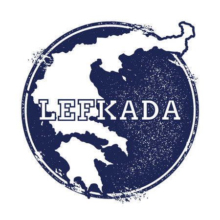 Lefkada vector map. Grunge rubber stamp with the name and map of island, vector illustration. Can be used as insignia, logotype, label, sticker or badge. Çizim