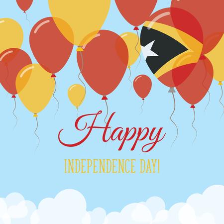 Tarjeta de felicitación plana del día de la independencia de Timor-Leste. Volando globos de goma en los colores de la bandera de Timor Oriental. Feliz día nacional ilustración vectorial.