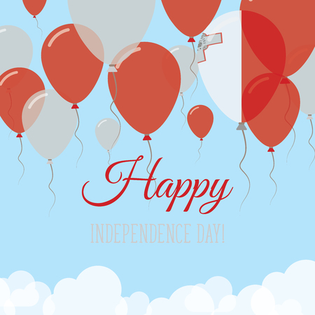 Malta Independence Day Flat Greeting Card. Flying Rubber Balloons in Colors of the Maltese Flag. Happy National Day Vector Illustration.