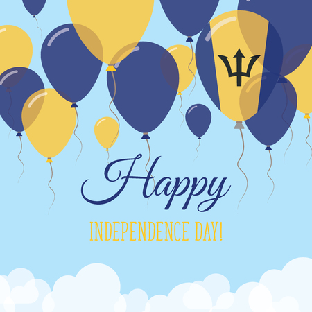 Barbados Independence Day Flat Greeting Card. Flying Rubber Balloons in Colors of the Barbadian Flag. Happy National Day Vector Illustration.