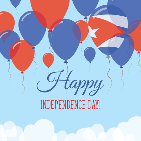 Cuba Independence Day Flat Greeting Card. Flying Rubber Balloons in Colors of the Cuban Flag. Happy National Day Vector Illustration.
