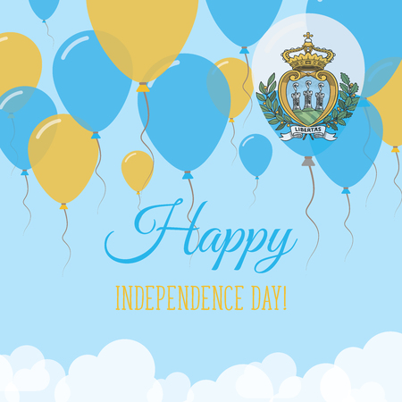 San Marino Independence Day Flat Greeting Card. Flying Rubber Balloons in Colors of the Sammarinese Flag. Happy National Day Vector Illustration.