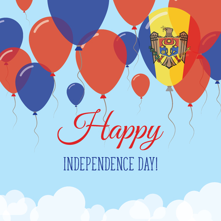 Moldova, Republic of Independence Day Flat Greeting Card. Flying Rubber Balloons in Colors of the Moldovan Flag. Happy National Day Vector Illustration. Vektorové ilustrace
