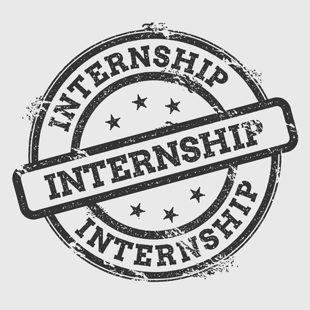 Internship rubber stamp isolated on white background. Grunge round seal with text, ink texture and splatter and blots, vector illustration.