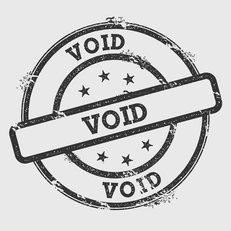 Void rubber stamp isolated on white background. Grunge round seal with text, ink texture and splatter and blots, vector illustration. Vecteurs