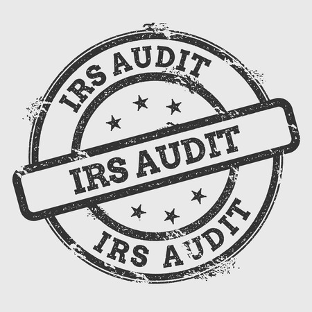 IRS Audit rubber stamp isolated on white background. Grunge round seal with text, ink texture and splatter and blots, vector illustration.