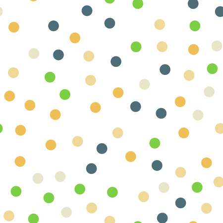 Colorful polka dots seamless pattern on black 13 background. Fascinating classic colorful polka dots textile pattern. Seamless scattered confetti fall chaotic decor. Abstract vector illustration.