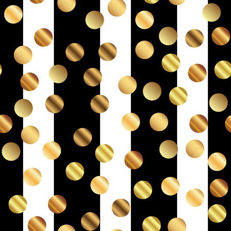 Golden dots seamless pattern on black and white striped background. Fine gradient golden dots endless random scattered confetti on black and white striped background. Confetti fall chaotic decor.