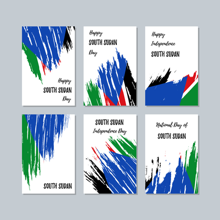 South Sudan Patriotic Cards for National Day. Expressive Brush Stroke in National Flag Colors on white card background. South Sudan Patriotic Vector Greeting Card.