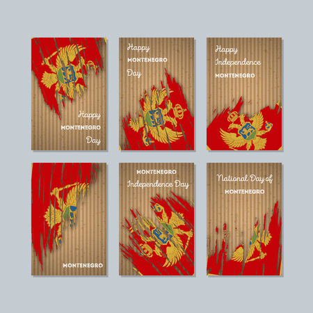 Montenegro Patriotic Cards for National Day. Expressive Brush Stroke in National Flag Colors on kraft paper background. Montenegro Patriotic Vector Greeting Card.