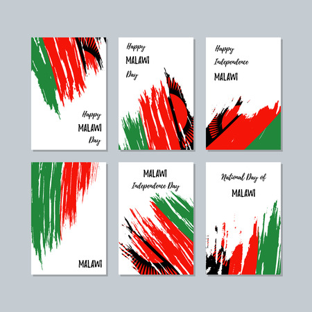 Malawi Patriotic Cards for National Day. Expressive Brush Stroke in National Flag Colors on white card background. Malawi Patriotic Vector Greeting Card.