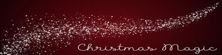 Christmas Magic greeting card. Random falling white dots background. Random falling white dots on red background. Fantastic vector illustration.