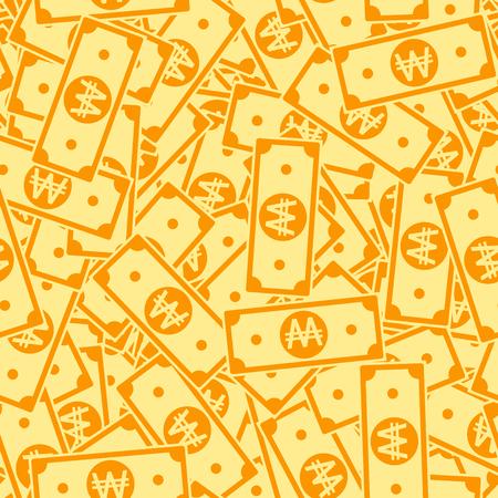 Korean won notes seamless pattern. Scattered WON bills. Korea cartoon flat money pattern. Jackpot, wealth or success concept. Vector illustration.