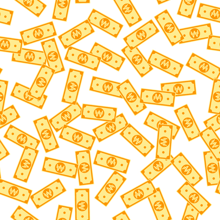 Korean won notes seamless pattern. Scattered WON bills. Korea small flat money pattern. Jackpot, wealth or success concept. Vector illustration.