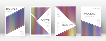 Flyer layout. Triangle shapely template for Brochure, Annual Report, Magazine, Poster, Corporate Presentation, Portfolio, Flyer. Beautiful bright hologram cover page. Illusztráció