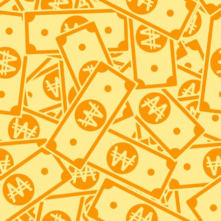 Korean won notes seamless pattern. Scattered WON bills. Korea big flat money pattern. Jackpot, wealth or success concept. Vector illustration.