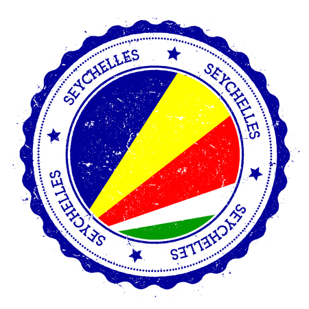 Seychelles flag badge. Vintage travel stamp with circular text, stars and island flag inside it. Vector illustration.