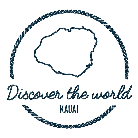 Kauai Map Outline. Vintage Discover the World Rubber Stamp with Island Map. Hipster Style Nautical Insignia, with Round Rope Border. Travel Vector Illustration.