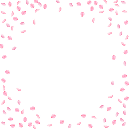 Sakura petals falling down. Romantic pink silky small flowers. Sparse flying cherry petals. Circle frame divine vector background. Love, affection, romance concept. Illustration