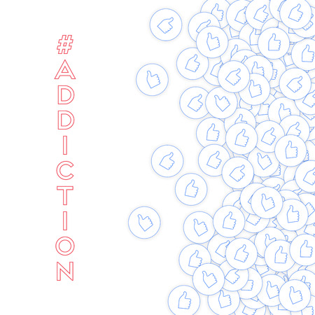 Social media icons. Social media addiction concept. Falling scattered thumbs up. Scatter right gradient elements on white background.