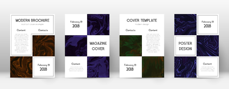 Copertina astratta. Modello di design raro. Poster aziendale in marmo Suminagashi. Rara copertina astratta alla moda. Illustrazione vettoriale di affari.
