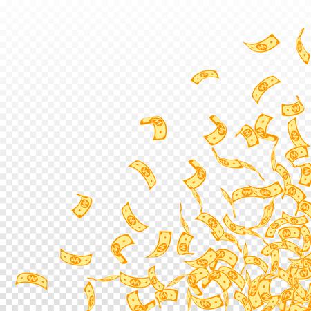Korean won notes falling. Small WON bills on transparent background. Korea money. Decent vector illustration. Wonderful jackpot, wealth or success concept.