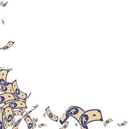Chinese yuan notes falling. Messy CNY bills on white background. China money. Divine vector illustration. Curious jackpot, wealth or success concept.