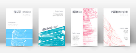 Cover page design template. Geometric brochure layout. Bold trendy abstract cover page. Pink and blue grunge texture background. Juicy poster.
