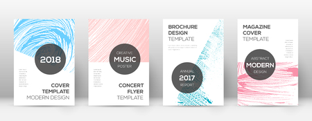 Cover page design template. Modern brochure layout. Cool trendy abstract cover page. Pink and blue grunge texture background. Surprising poster.